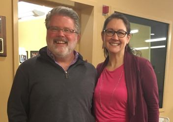 Jamie Clark and Meredith O'Brien after WICN interview