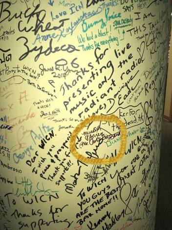 I signed the post in the WICN lobby